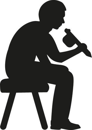 tattooing: Tattooist silhouette Illustration