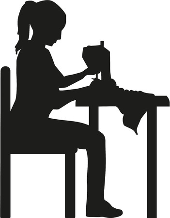 Silhouette of girl an the sewing machine