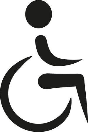 wheel chair: Elegant icon of wheelchair
