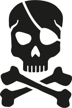 eyepatch: Skull with eyepatch and crossbones