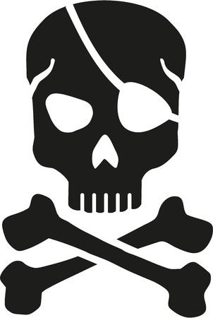 crossbones: Skull with eyepatch and crossbones