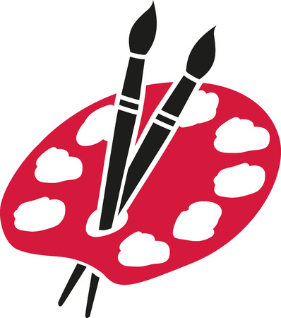 artist palette: Artist palette with two brushes
