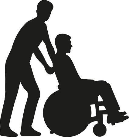 man pushing: Silhouette man pushing a wheelchair