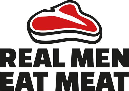 eslogan: los hombres reales comen la carne de consigna Vectores