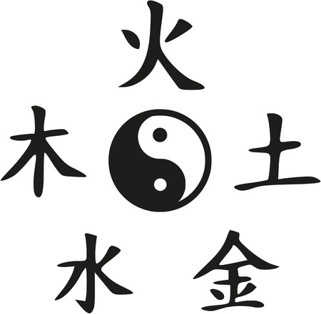 Feng Shui - Yin and Yang with five elements Vector Illustration