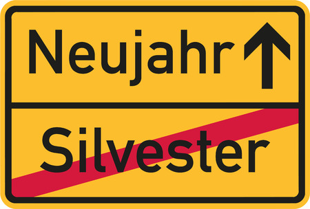 sylvester: From Sylvester to New year - german sign Illustration