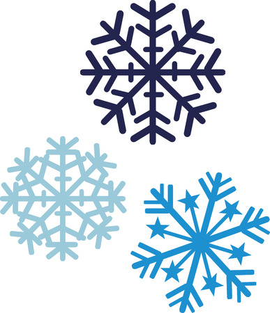 three colors: Snowflakes in three colors Illustration