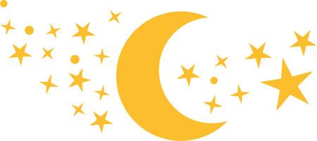 Lune avec beaucoup d'étoiles Vecteurs