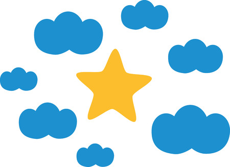 Clouds with star in the middle icons Illustration