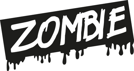 Zombie word with bloody sign