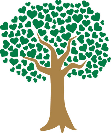 Tree of love with heart shaped leaves