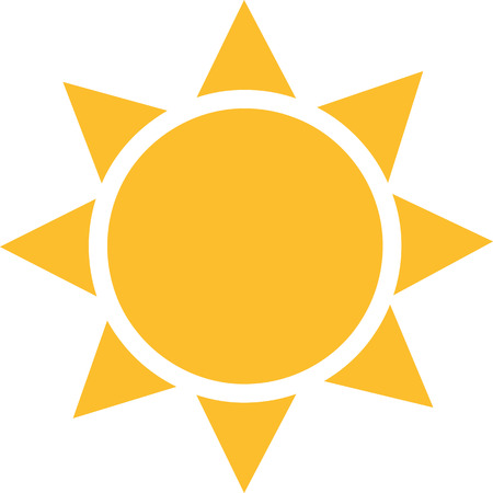 Sun icon with squared sunrays