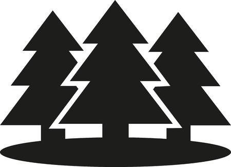 evergreen tree: Set of Fir trees Illustration