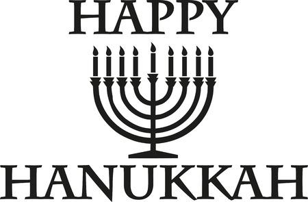 candleholder: Happy hanukkah with candleholder Illustration