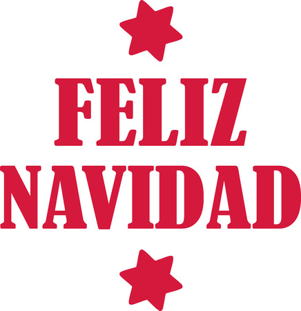 feliz: Feliz navidad with stars Illustration