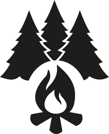 woodpile: Campfire with fir tree Illustration