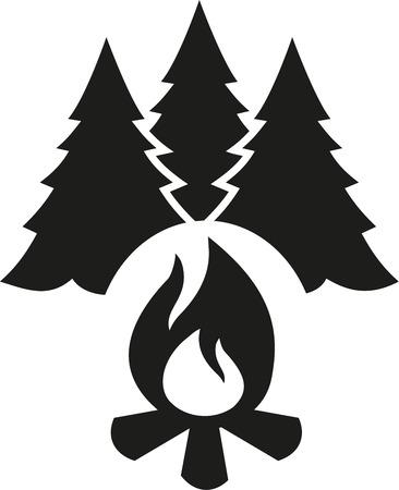 fir trees: Campfire with fir tree Illustration