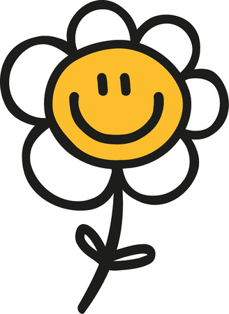 Daisy flower hand drawn with smiling face