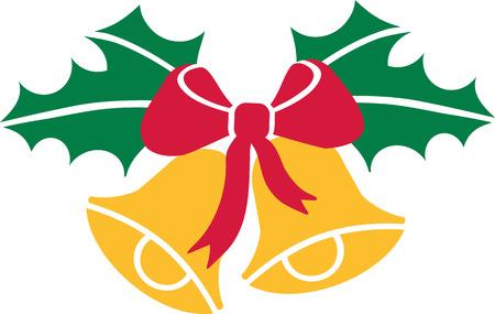 Weihnachtsglocken mit Stechpalmen und Bogen