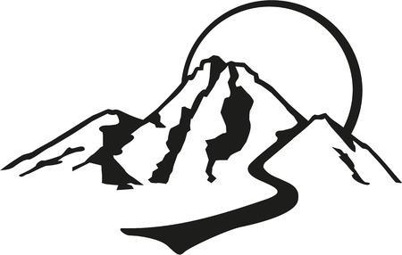 Montagne avec parcours et le soleil style rétro