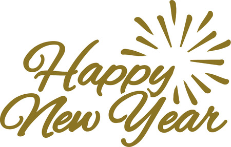 turn of the year: Happy new year lettering composition Illustration