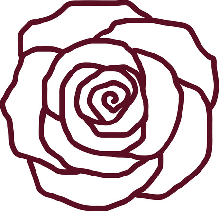 Rose petal outline Иллюстрация