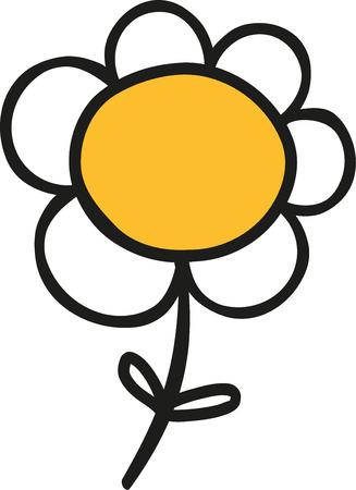 dibujado a mano lindo de la flor de la margarita Ilustración de vector