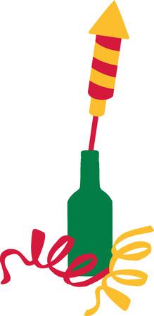 sylvester: New years eve firework rocket in a bottle Illustration