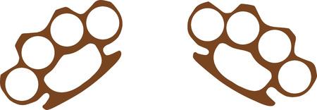 knuckles: Two brass knuckles Illustration