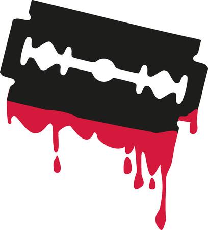 blade: Razor blade with blood Illustration