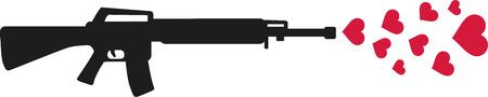 sniper rifle: Sniper rifle shooting hearts - spreading love Illustration