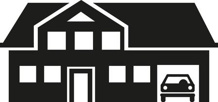 villa: Villa house with garage Illustration