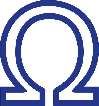 omega: Greek omega sign outline Illustration