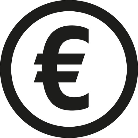 euro sign: Coin with euro sign