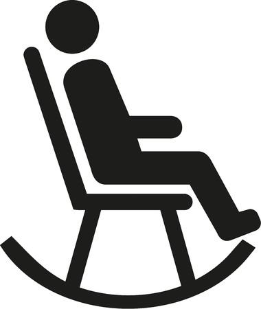 rocking chair: Man in rocking chair pictogram Illustration