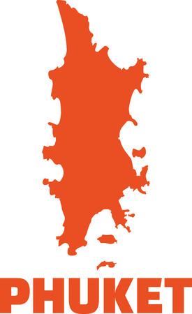 Phuket map silhouette