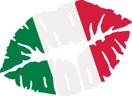 Italy flag kiss