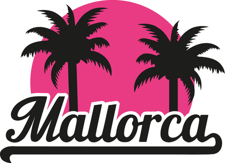 majorca: Mallorca with pink sun and palms Illustration