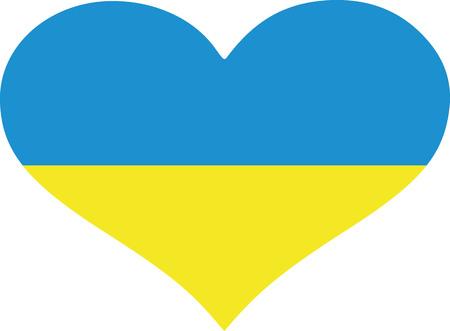 Ukraine flag heart Illustration