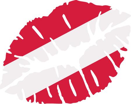austria flag: Austria flag kiss Illustration