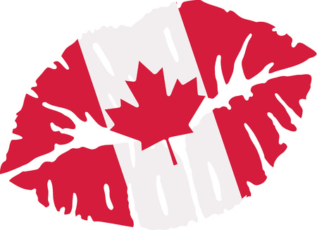 canadian flag: Kiss with canadian flag