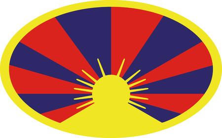 tibet: Tibet flag button Illustration
