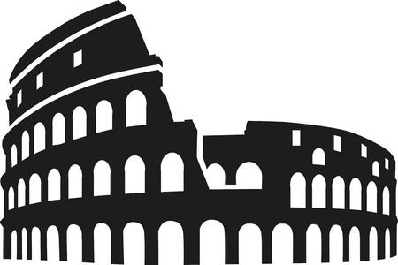 silueta Coliseo Roma Ilustración de vector