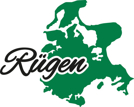 caligraphy: Ruegen Iceland with caligraphy word Illustration