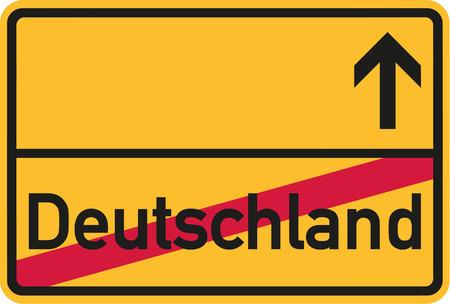 Migration aus Deutschland - Deutsches Ortsschild Vektorgrafik
