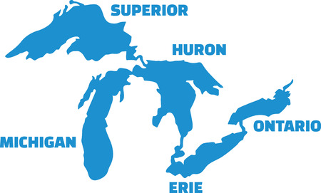 great lakes: Great Lakes silhouettes with names