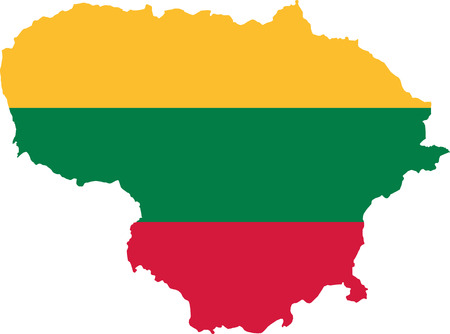 lithuania: Lithuania map with flag