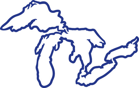 Kontur sylwetki Great Lakes Ilustracje wektorowe
