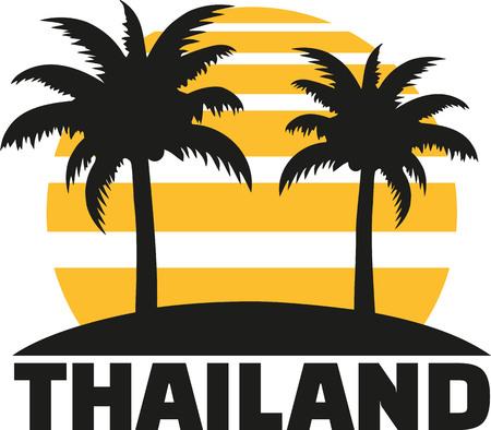 samui: Thailand with sun palms and beach Illustration