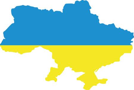 Ukraine map with flag Illustration